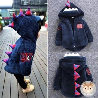 【Kori Deer 可莉鹿】小恐龍兒童保暖珊瑚絨連帽外套(童裝 男童外套)