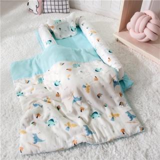 【Kori Deer 可莉鹿】雙層紗純棉多功能床中床/可折疊式嬰兒床包(森林好朋友 有被子)