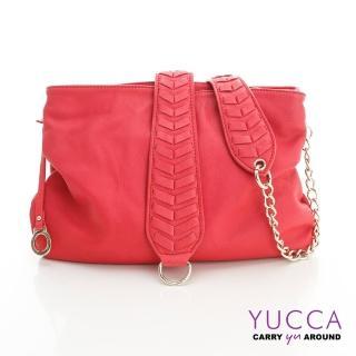 【YUCCA】自然葉脈圖騰牛皮肩背包-玫紅(D012503)