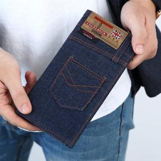 【皮夾】口袋造型深藍牛仔長夾(玖飾時尚)