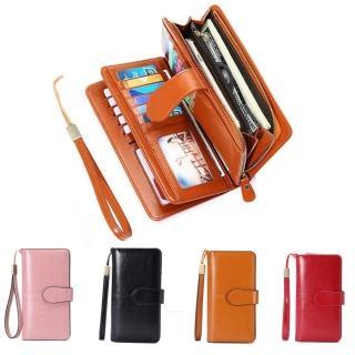 【玩皮工坊】復古油蠟牛皮24卡位女士皮夾錢包長夾手拿包女夾LH491(4色可選)