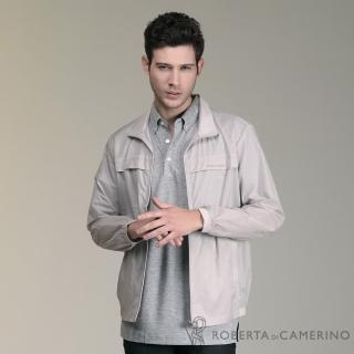 【ROBERTA 諾貝達】台灣製 極輕防潑水 休閒夾克外套(灰色)
