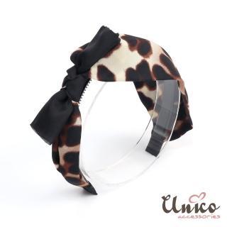 【UNICO】波斯豹紋俏皮蝴蝶結帶齒髮箍/髮飾