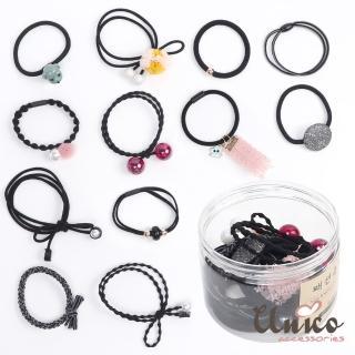 【UNICO】韓版百變組合12件髮圈橡皮筋組合盒裝-D(配件)