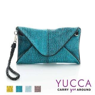 【YUCCA】牛皮新潮紋路手拿斜背包-藍綠(D0120045)