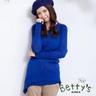 【betty's 貝蒂思】混羊毛微透膚針織衫(藍色)