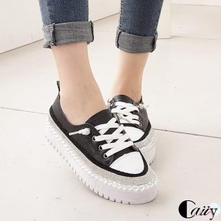 【Caiiy】真皮水鑽低調奢華綁帶休閒平底鞋D258(黑色/白色)