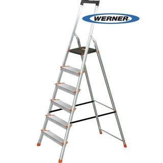 【WERNER】美國Werner穩耐安全鋁梯-L236R-2 鋁合金大平台6階家用梯/A字梯