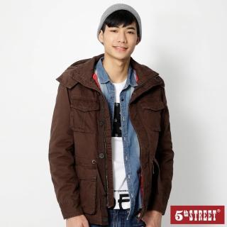【5th STREET】男長版鋪棉長袖外套-暗咖啡