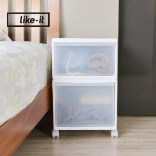 【日本like-it】UNI-COM自由疊砌抽屜附輪收納櫃-2入組-1高1低-寬34cm