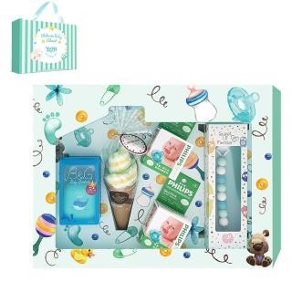 【YOYI】香草奶嘴彌月禮盒(4號香草藍鯨薄荷藍天奶嘴鍊)