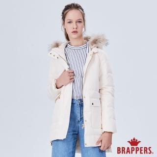 【BRAPPERS】女款 中長版可拆帽羽絨外套(牛奶白)