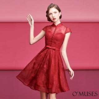 【OMUSES】蕾絲旗袍式短禮服18-18729(S-2L)