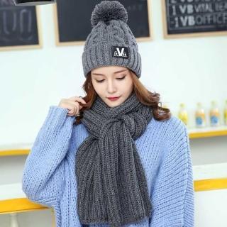 【Acorn*橡果】韓系保暖大毛球加厚毛帽+圍巾1801(兩件組-灰色)