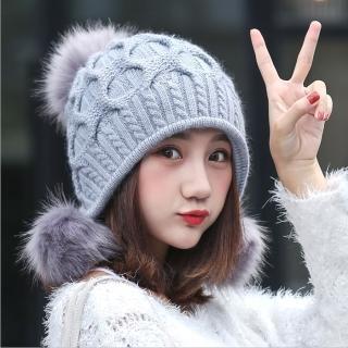 【Acorn*橡果】韓系甜美大毛球保暖護耳毛帽1805(灰色)