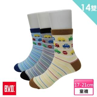 【BVD】汽車條紋1/2童襪12雙組+送蛋黃獅襪*2雙(B325.B326童襪)