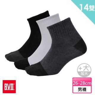 【BVD】雙效抗菌除臭1/2健康男襪加大12雙組+送男女適用除臭襪*2雙(B384襪子26-28cm)