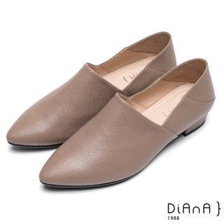 【DIANA】簡約時尚-素色兩穿2way羊皮樂福鞋(卡其)