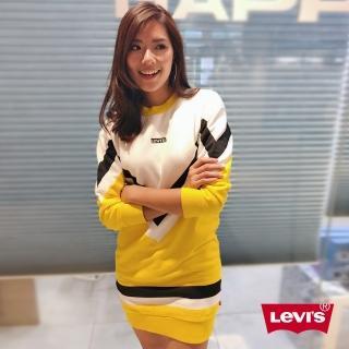 【LEVIS】女款 長袖洋裝 / LOGO / 黃白黑拼接(亞洲限定)