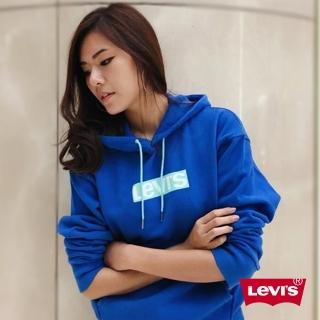 【LEVIS】男女同款 帽T / 撞色LOGO / 藍(亞洲限定)