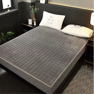 加厚法蘭絨雙人保暖墊保潔墊150*200cm灰色