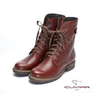 【CUMAR】率性柔美-中性風綁帶軍裝感短靴(紅梨色)