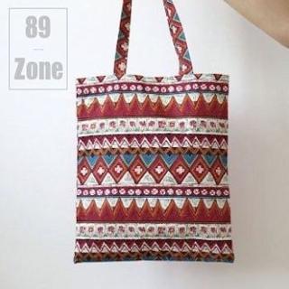 【89 zone】韓版經典波西米亞條紋帆布包(藍/紅)