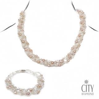 【City Diamond 引雅】粉橘珍珠項鍊+珍珠手鍊套組