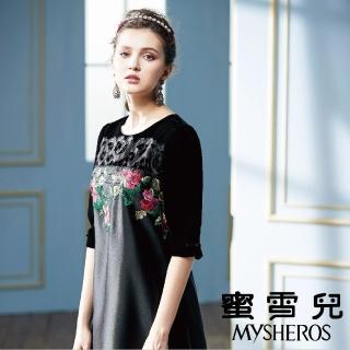 【mysheros 蜜雪兒】公主鮮花五分洋裝(黑)