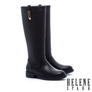【HELENE SPARK】簡約率性金屬方飾低跟長靴(黑)
