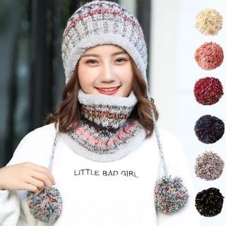 【幸福揚邑】保暖圍脖甜美吊球針織口罩毛線帽兩件套