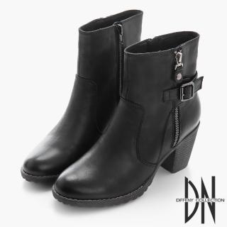 【DN】美式風格 率性拉鍊中跟軍短靴(黑)