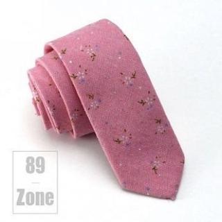 【89 zone】韓版時尚潮棉麻碎花窄版領帶(粉/駝/草綠/天藍)