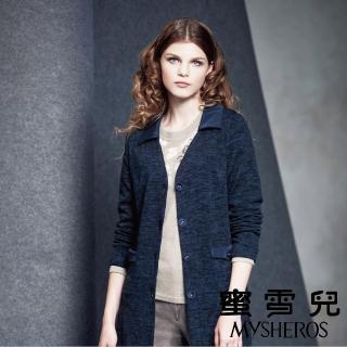 【mysheros 蜜雪兒】雲彩保暖長版領外套(藍)