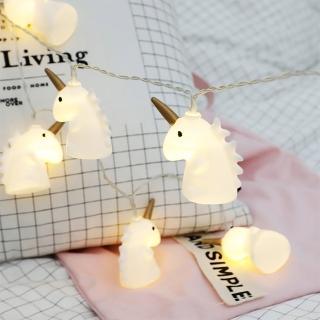 【童趣樂活】小馬獨角獸 LED串燈 聖誕燈 派對 居家 陽台 兒童房 商業佈置 電池款(1.5米 10顆暖色燈)