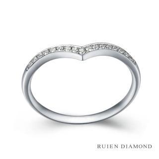 【RUIEN DIAMOND 瑞恩鑽石】真鑽8分 鑽石戒指 女款 線戒(18k白金 知心)