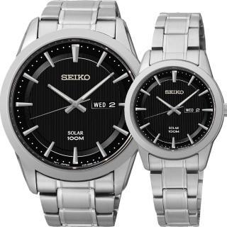 【SEIKO 精工】CS太陽能情人對錶-黑/44+28mm(SNE363P1+SUT161P)