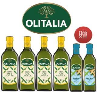 vip限定【Olitalia 奧利塔】純橄欖油1000mlx4禮盒組(贈玄米油500mlx2瓶)