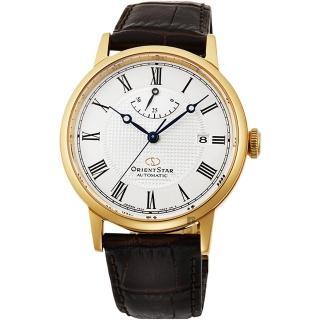 【ORIENT 東方錶】東方之星 CLASSIC 羅馬機械錶-金框x咖啡/38.7mm(RE-AU0001S)