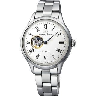 【ORIENT 東方錶】東方之星 OPEN HEART 羅馬機械女錶-銀/30.5mm(RE-ND0002S)