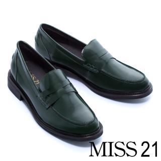 【MISS 21】經典不敗復古學院風百搭純色樂福厚底鞋(綠)