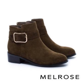【MELROSE】簡約率性金屬方釦帶麂皮粗低跟短靴(綠)