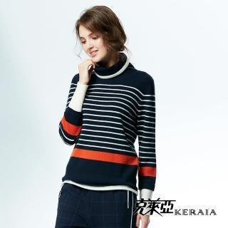 【KERAIA 克萊亞】100%羊絨翻領配條針織上衣