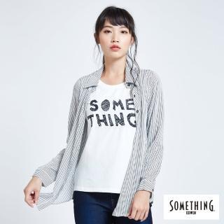 【SOMETHING】假兩件式長袖襯衫(白色)