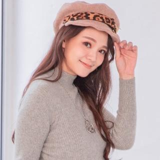 【Wonderland】豹紋金屬貝雷帽(卡其)