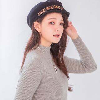 【Wonderland】豹紋金屬貝雷帽(黑)