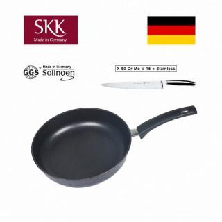 【SKK】鑄造深平底鍋28cm+德國 主廚刀20cm