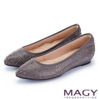 【MAGY】低調奢華的美感 閃耀水晶鑽飾尖頭平底鞋(灰色)