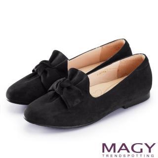 【MAGY】復古上城女孩 抓皺蝴蝶結平底鞋(黑色)