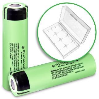 【YADI】18650充電式鋰單電池-日本松下原裝正品-3350mAh(電池2入+專用防潮盒2入裝x1)